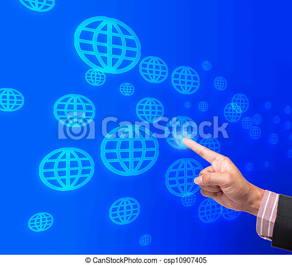 Hand pushing global button on a touch screen interface  - csp10907405