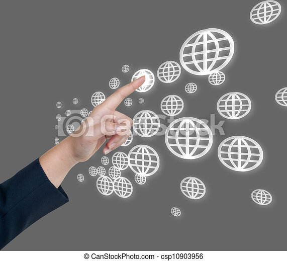 Hand pushing global button on a touch screen interface  - csp10903956