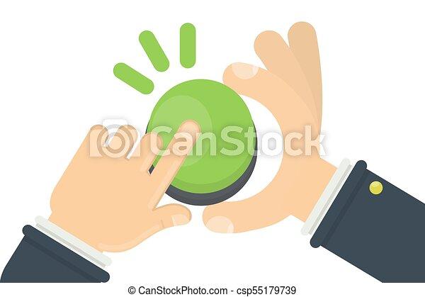Hand pushing green button - csp55179739