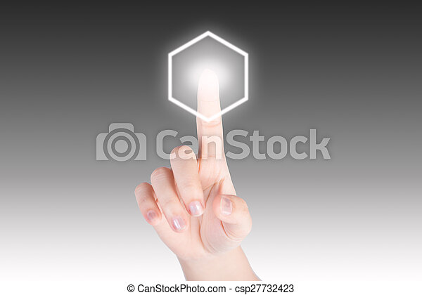 Hand pushing hexagon button with technology background - csp27732423