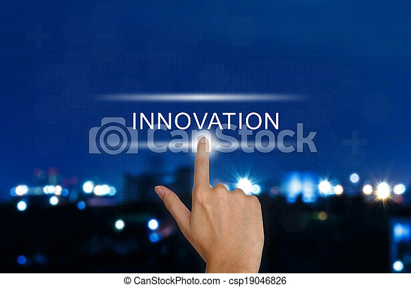 hand pushing innovation button on touch screen  - csp19046826