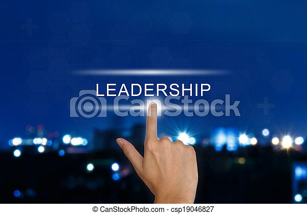 hand pushing leadership button on touch screen  - csp19046827