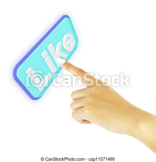 Hand pushing like button on white background - csp11571490