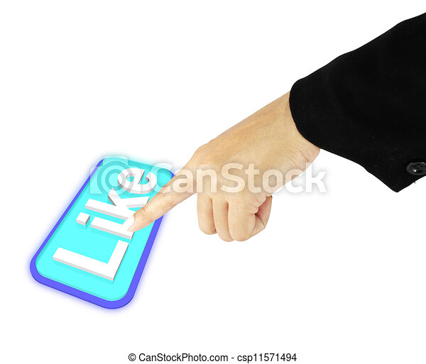 Hand pushing like button on white background - csp11571494