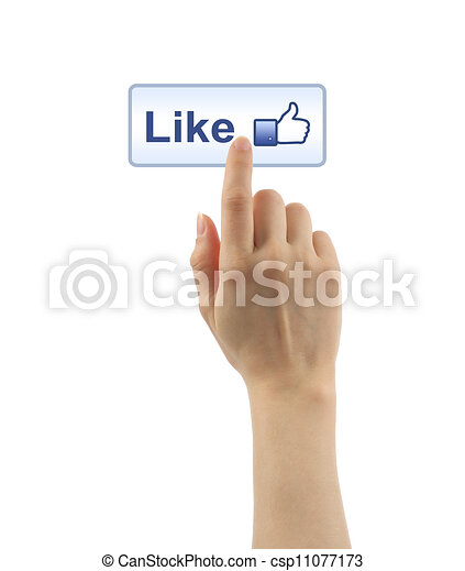 Hand pushing like button on white background - csp11077173