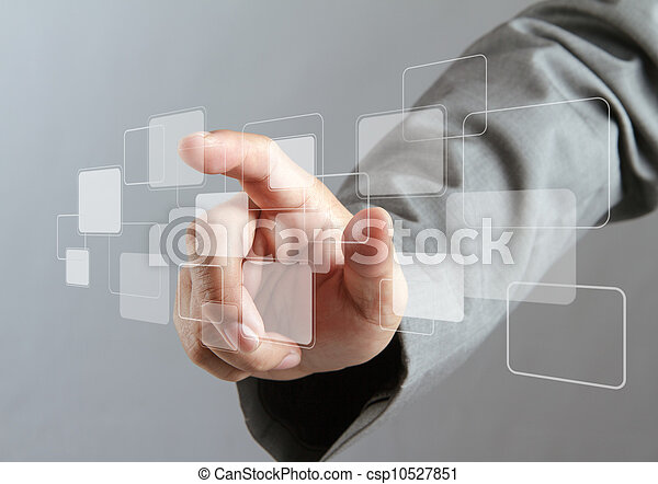 hand pushing on a virtual touch screen interface - csp10527851