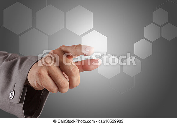 hand pushing on a virtual touch screen interface - csp10529903