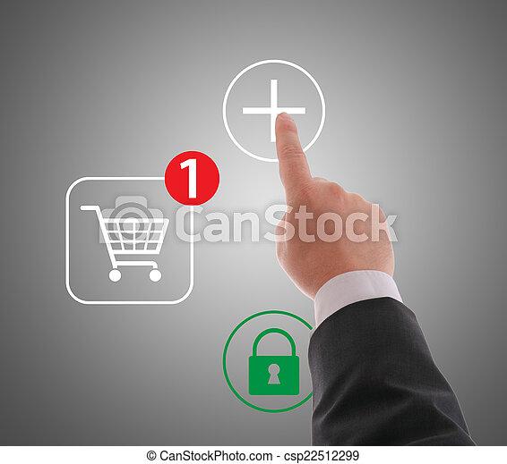 Hand pushing virtual symbol PLUS , on line shopping. - csp22512299