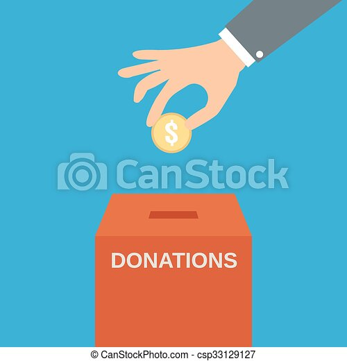 Hand putting coin in the donate box - csp33129127
