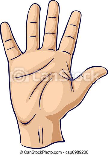 hand raised in an open hand gesture hand showing open palm gesture rh canstockphoto com Hand Raised Clip Art Volunteer Girl Raising Hand Clip Art