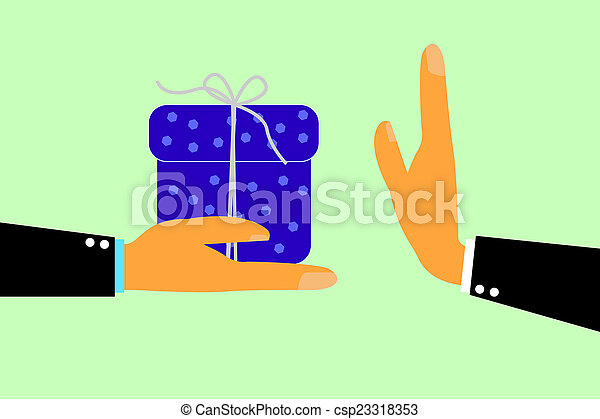 Hand - Refuse Gift From Other Hand - csp23318353