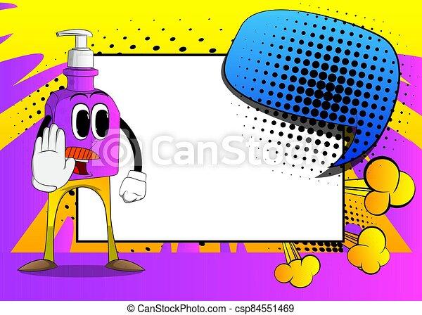 Hand sanitizer gel showing deny or refuse hand gesture. - csp84551469