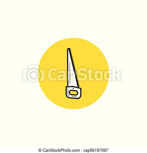 Hand saw icon in black style isolated on white background. Sawmill and timber symbol stock vector illustration. - csp56197097