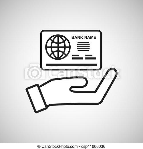 Hand, schablone, halten, kontrollieren, bank, ikone. 10,... Vektoren ...