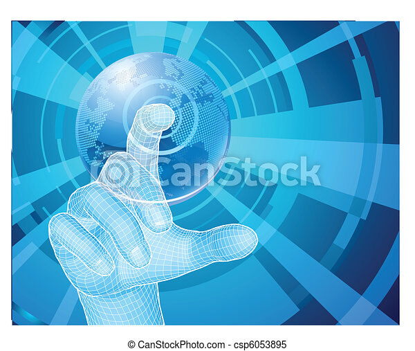 Hand selecting world globe concept background - csp6053895