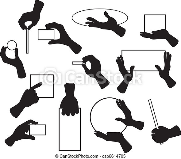 hand set cartoon illustration of hand signals gestures poses rh canstockphoto com Palm of Hand Clasped Hands