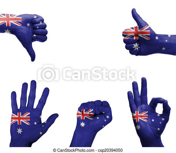 Hand set with the flag of Australia - csp20394050