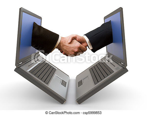 hand shake between laptops - csp5999853