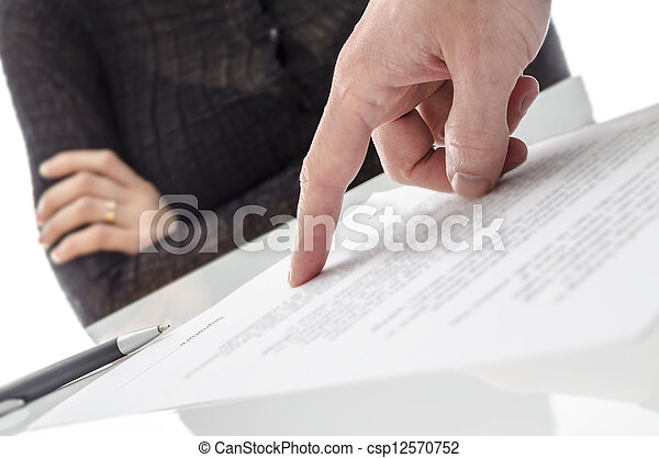 Hand showing a woman to sign a paper - csp12570752