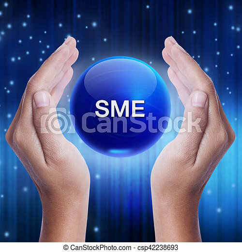 Hand showing blue crystal ball with SME (Small and Medium Enterprises) sign. business concept - csp42238693
