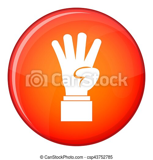 Hand showing number four icon, flat style - csp43752785