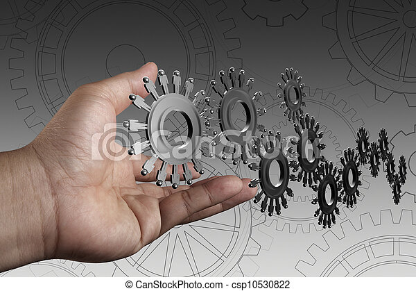 hand shows people cogs as concept - csp10530822