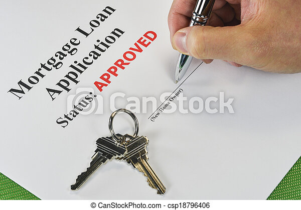 Hand Signing An Approved Real Estate Mortgage Loan Document - csp18796406