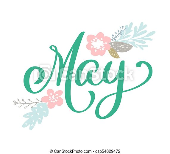 Hand sketched hello may text as logotype and scandinavian flowers may text as logotype and scandinavian flowers spring postcard card invitation banner template warm season lettering typography seasons greetings m4hsunfo