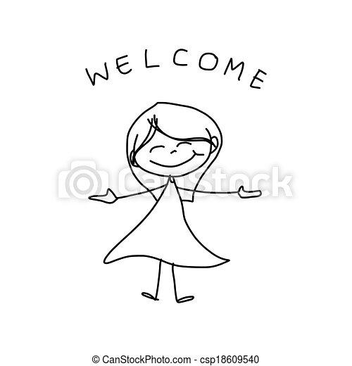 hand, spotprent, geluk, tekening - csp18609540