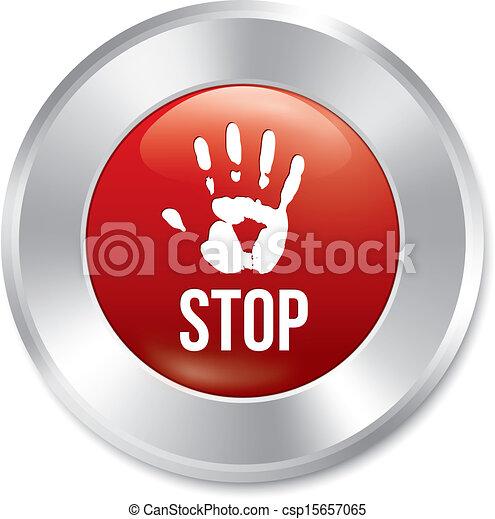 Hand stop button. Age limit red round sticker. - csp15657065