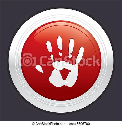 Hand stop button. Vector red round sticker. - csp15606700