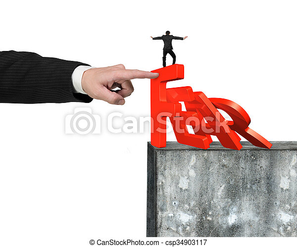 Hand stopping fear word domino falling with man balance it - csp34903117