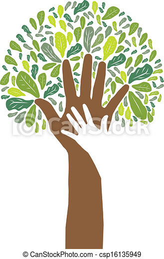 hand symbol of green tree - csp16135949