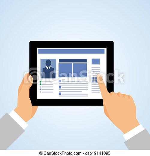 Hand tablet pc social - csp19141095