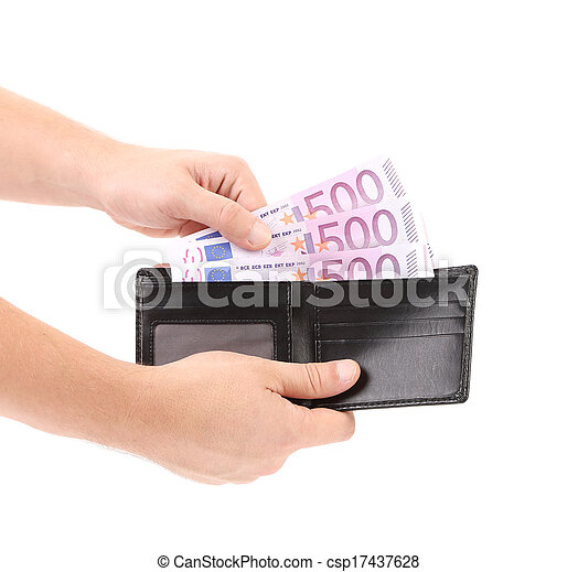 Hand taking out euro bills from purse. - csp17437628