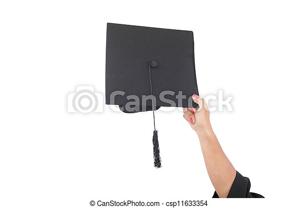 hand throwing graduation hats in the air  - csp11633354