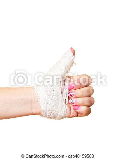 Hand Tied Elastic Bandage On A White Background Wounded Female