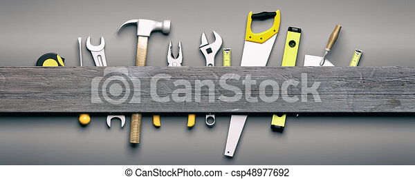 Hand tools on grey wooden background. 3d illustration - csp48977692