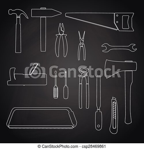 Outline icons - hand tools. Hand tools icon series in thin outlines.