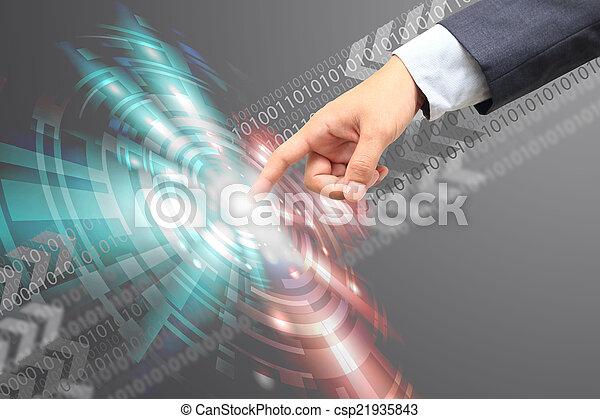 hand touch button communication technology. - csp21935843