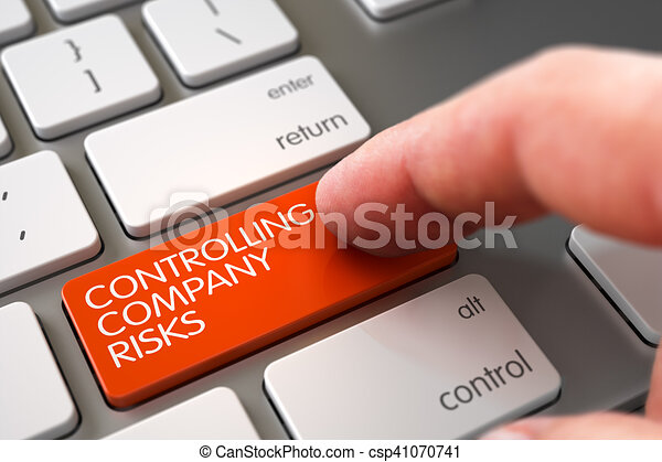 Hand Touching Controlling Company Risks Key. 3D. - csp41070741
