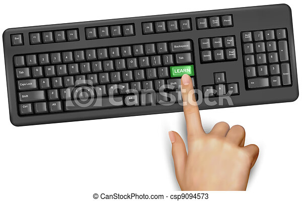 Hand touching key learn  Vector  - csp9094573