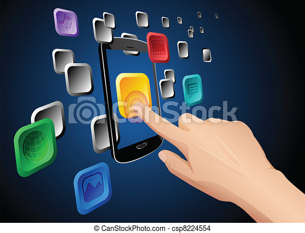 Hand touching mobile cloud app icon - csp8224554