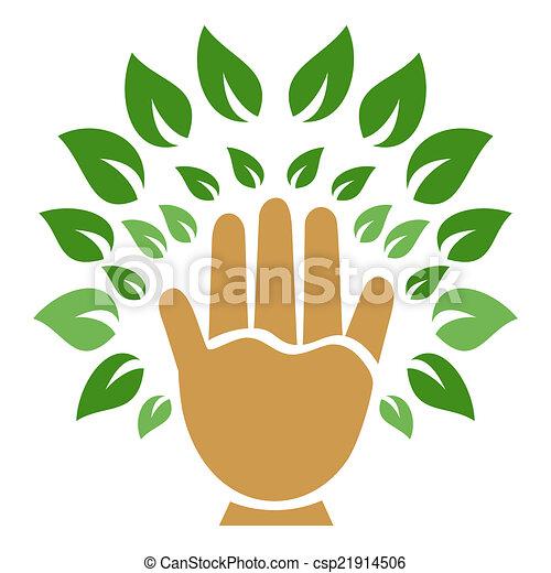 hand tree symbol - csp21914506