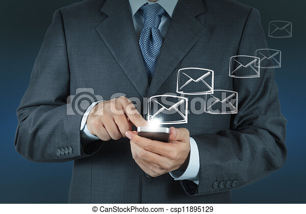 hand use tablet computer with email icon - csp11895129