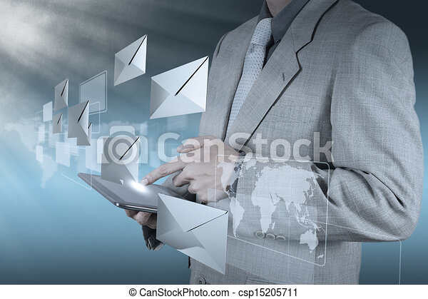hand use tablet computer with email icon - csp15205711