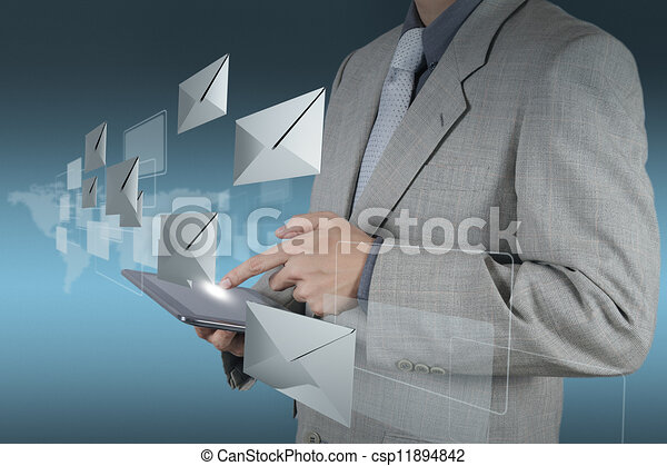 hand use tablet computer with email icon - csp11894842