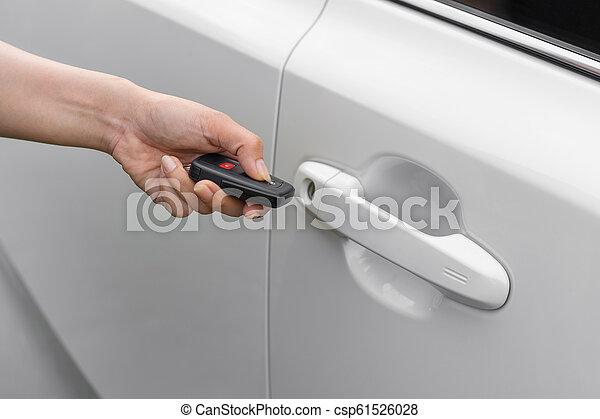hand using remote key to unlocked car - csp61526028