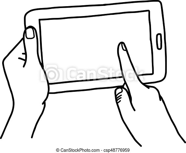 Hand using tablet with finger touching screen - vector ... Tablet Clipart Black And White