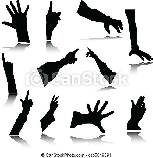 hand vector silhouetes - csp5049891